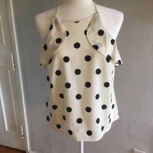 J. Crew | Tie Halter Polka Dot Tank Top Draped